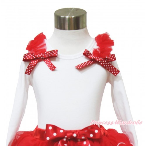 Xmas White Long Sleeves Top Red Ruffles Minnie Dots Bow TW518