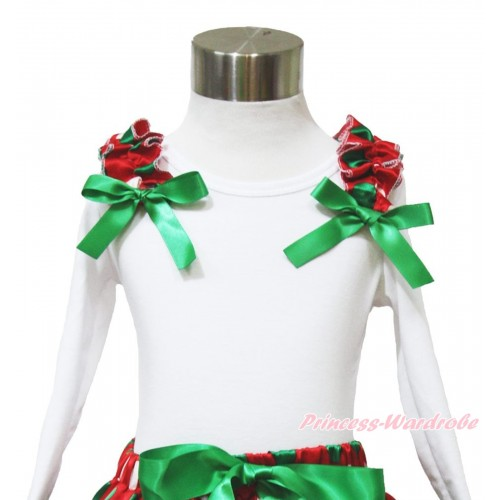 Xmas White Long Sleeves Top Red White Green Dots Ruffles Kelly Green Bow TW519