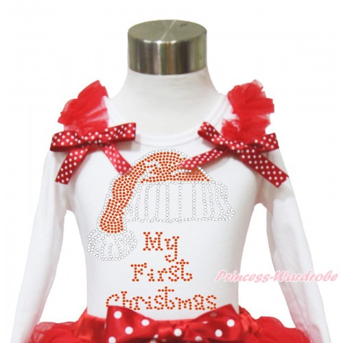 Xmas White Long Sleeves Top Red Ruffles Minnie Dots Bow & Sparkle Rhinestone Christmas Hat TW520