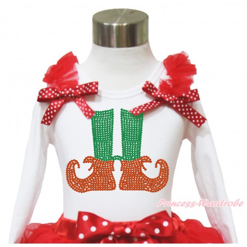 Xmas White Long Sleeves Top Red Ruffles Minnie Dots Bow & Sparkle Rhinestone Elf Socks TW521