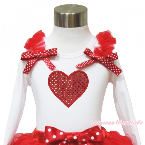 Valentine's Day White Long Sleeves Top Red Ruffles Minnie Dots Bow & Sparkle Red Heart TW522
