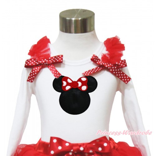 White Long Sleeves Top Red Ruffles Minnie Dots Bow & Red Minnie TW523