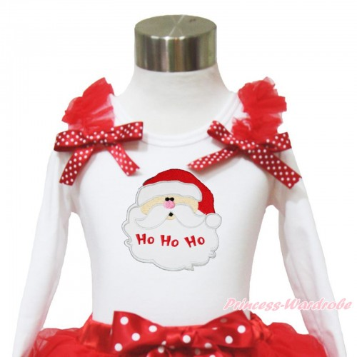 Xmas White Long Sleeves Top Red Ruffles Minnie Dots Bow & Santa Claus TW524