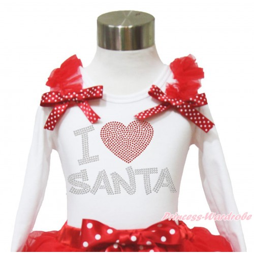 Xmas White Long Sleeves Top Red Ruffles Minnie Dots Bow & Sparkle Rhinestone I Love Santa TW525