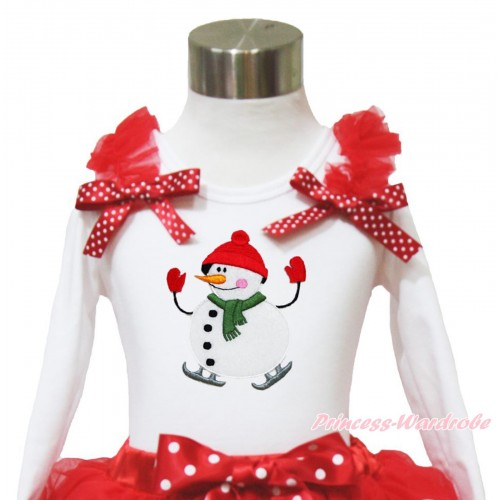 Xmas White Long Sleeves Top Red Ruffles Minnie Dots Bow & Ice-Skating Snowman TW526