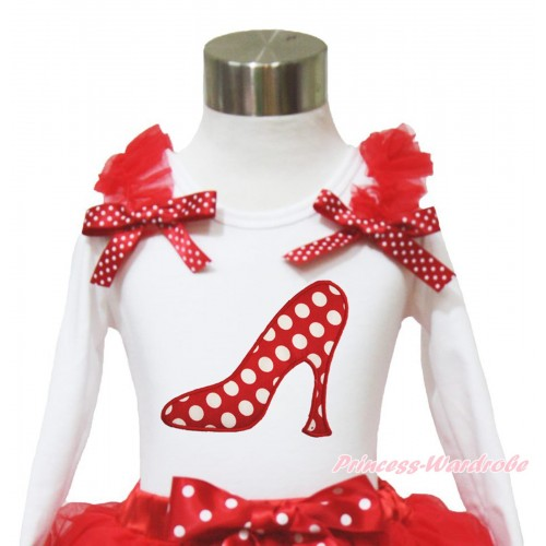 White Long Sleeves Top Red Ruffles Minnie Dots Bow & Minnie Dots High Heel Shoes TW527