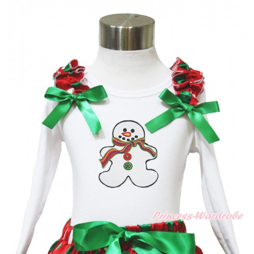 Xmas White Long Sleeves Top Red White Green Dots Ruffles Kelly Green Bow & Christmas Gingerbread Snowman TW529