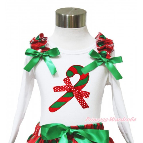 Xmas White Long Sleeves Top Red White Green Dots Ruffles Kelly Green Bow & Christmas Stick & Minnie Dots Bow TW530