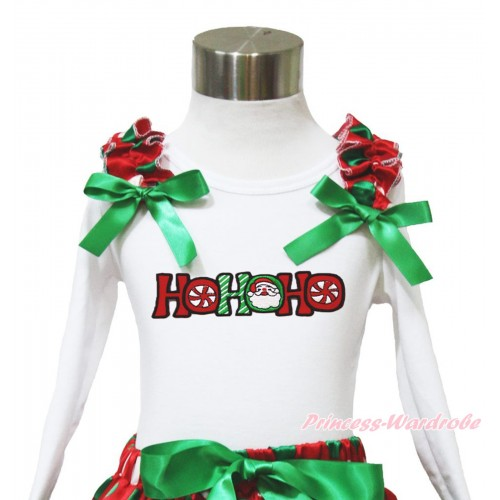 Xmas White Long Sleeves Top Red White Green Dots Ruffles Kelly Green Bow & HOHOHO Santa Claus TW531