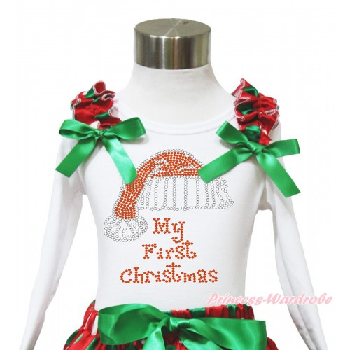 Xmas White Long Sleeves Top Red White Green Dots Ruffles Kelly Green Bow & Sparkle Rhinestone Christmas Hat TW532