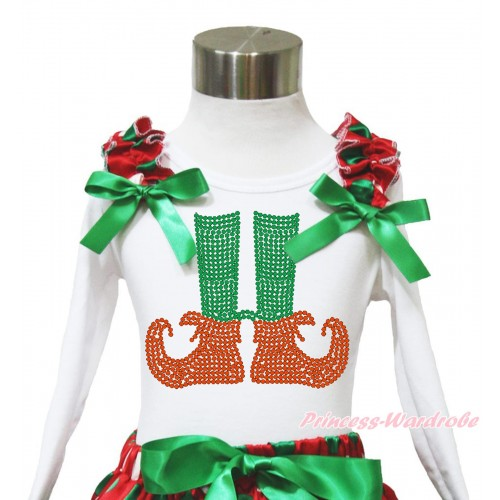 Xmas White Long Sleeves Top Red White Green Dots Ruffles Kelly Green Bow & Sparkle Rhinestone Elf Socks TW533