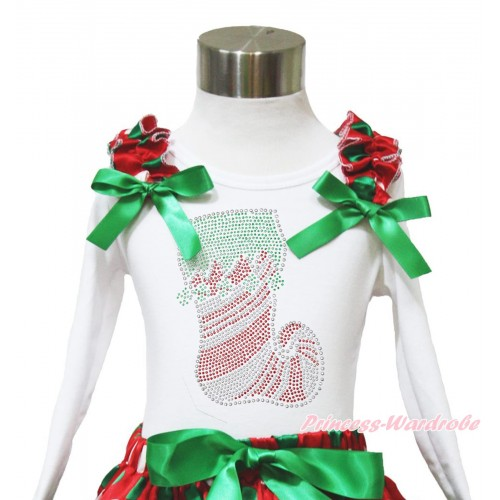Xmas White Long Sleeves Top Red White Green Dots Ruffles Kelly Green Bow & Sparkle Rhinestone Christmas Stocking TW534