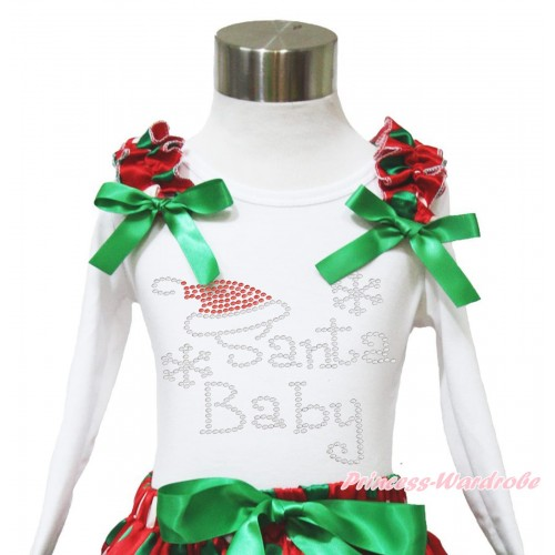 Xmas White Long Sleeves Top Red White Green Dots Ruffles Kelly Green Bow & Sparkle Rhinestone Santa Baby TW536