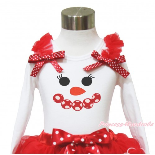 Xmas White Long Sleeves Top Red Ruffles Minnie Dots Bow & Minnie Dots Snowman Face TW537