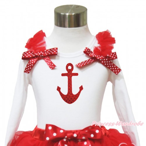 White Long Sleeves Top Red Ruffles Minnie Dots Bow & Sparkle Red Anchor TW538