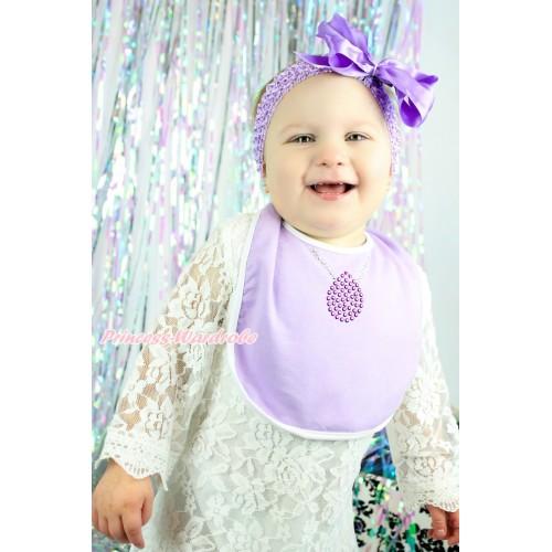 Princess Sofia Lavender Baby Bib & Sparkle Rhinestone Necklace Print BI23