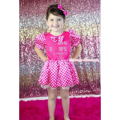 Hot Pink White Minnie Dots Bubble Sleeves Pink Princess Dress Party Costume & Hot Pink White Dots Satin Bow & Sparkle Rjonestone I Like Big Bows Print C385