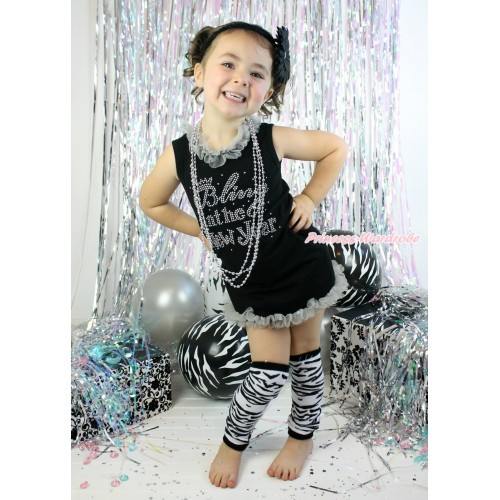 Black One-Piece Pettidress Grey Chiffon Lacing & Sparkle Rhinestone Bling In The New Year Print & Grey Ruffles & Zebra Leg Warmers Leggings CD028