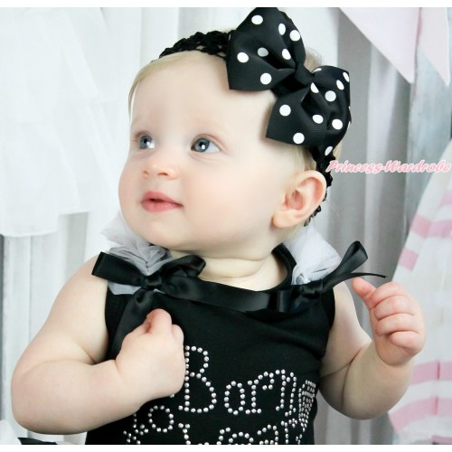 Black Headband with Black White Polka Dots Ribbon Hair Bow Clip H432