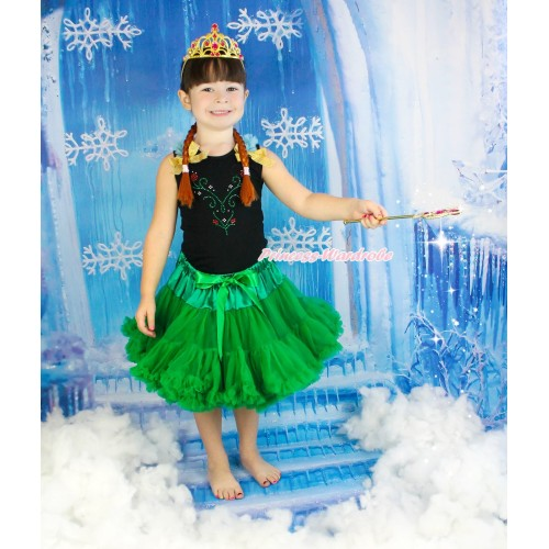 Frozen Black Tank Top Light Blue Ruffles Sparkle Goldenrod Bow & Sparkle Rhinestone Princess Anna Print & Kelly Green Pettiskirt & Anna Costume MG1402