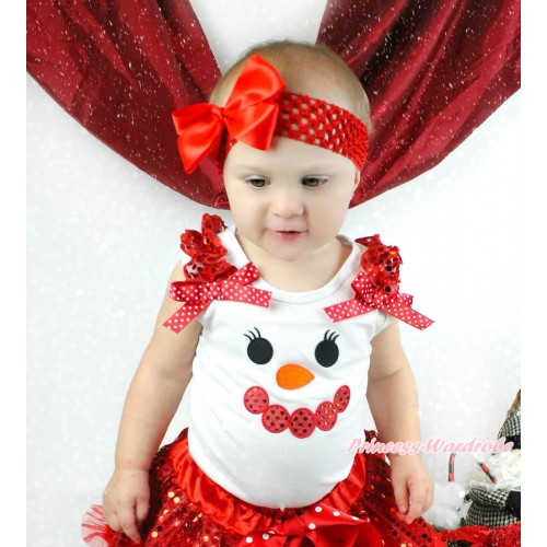 Xmas White Tank Top Red Sequins Ruffles Minnie Dots Bow & Sparkle Red Snowman Face Print TB971
