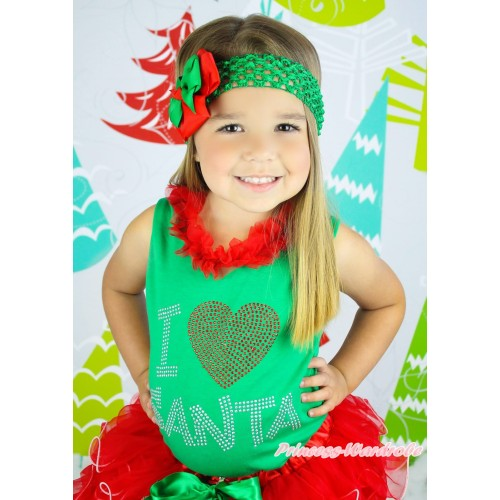 Xmas Kelly Green Tank Tops Red Chiffon Lacing & Sparkle Rhinestone I Love Santa Print TM287