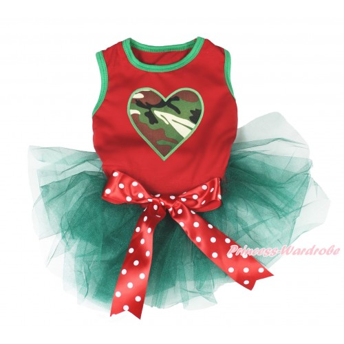 Valentine's Day Red Sleeveless Teal Green Gauze Skirt & Camouflage Heart Print & Red White Polka Dots Bow Pet Dress DC204