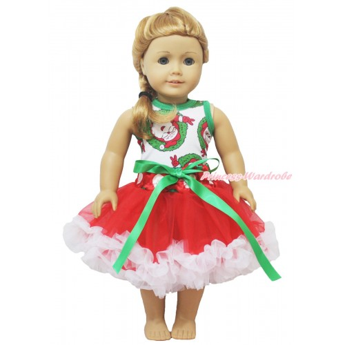 Xmas Santa Claus Tank Top & Kelly Green Bow Red White Green Dots Waist Pettiskirt American Girl Doll Outfit DO051