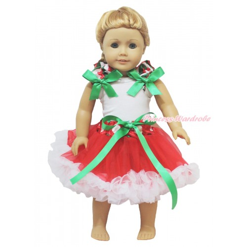 Xmas White Tank Top Red White Green Chevron Ruffles Kelly Green Bow & Red White Green Dots Waist Pettiskirt American Girl Doll Outfit DO052