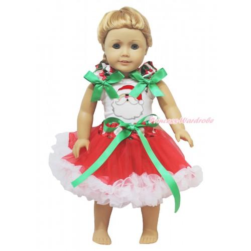 Xmas White Tank Top Red White Green Chevron Ruffles Kelly Green Bows & Santa Claus & Red White Green Dots Waist Pettiskirt American Girl Doll Outfit DO053