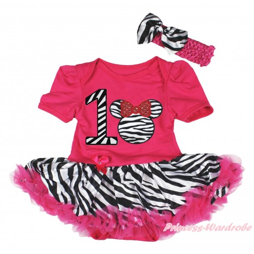 Hot Pink Baby Bodysuit Zebra Pettiskirt & 1st Zebra Birthday Number & Zebra Minnie & Hot Pink Headband Zebra Satin Bow JS4186