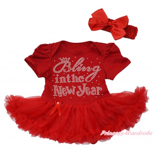 Red Baby Bodysuit Pettiskirt & Sparkle Rhinestone Bling In The New Year & Red Headband Silk Bow JS4187