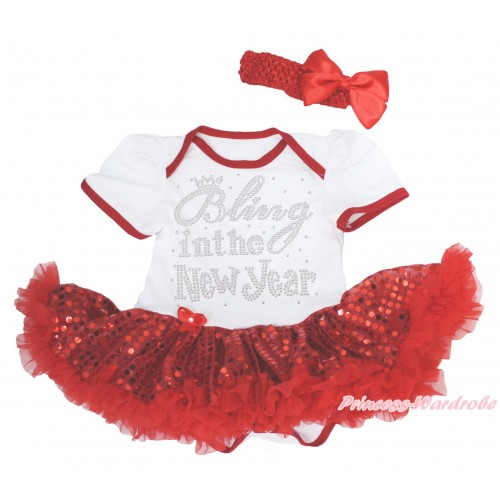 White Baby Bodysuit Sparkle Red Sequins Pettiskirt & Sparkle Rhinestone Bling In The New Year & Red Headband Silk Bow JS4188