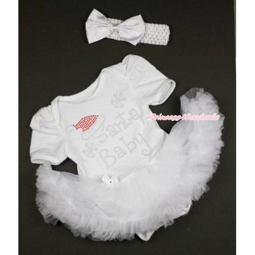 Xmas White Baby Bodysuit Pettiskirt & Sparkle Rhinestone Santa Baby & White Headband Satin Bow JS4189