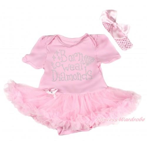 Light Pink Baby Bodysuit Pettiskirt & Sparkle Rhinestone Born To Wear Diamonds & Light Pink Headband Silk Bow JS4190