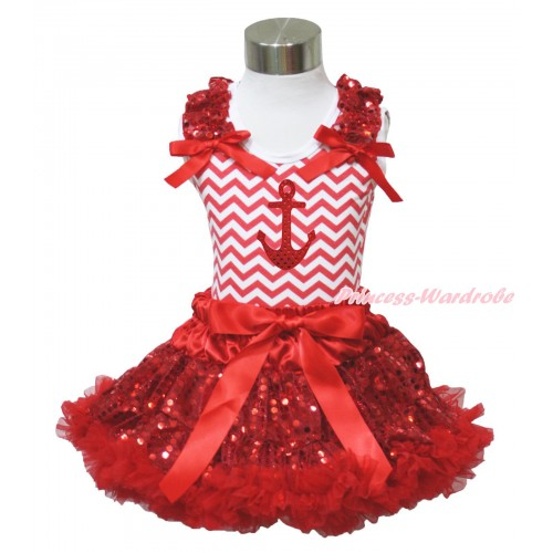 Red White Chevron Tank Top Red Sequins Ruffles Red Bow & Sparkle Red Anchor Print & Sparkle Red Sequins Pettiskirt MH278
