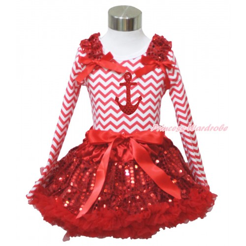 Red White Chevron Long Sleeve Top Red Sequins Ruffles Red Bow & Sparkle Red Anchor Print & Sparkle Red Sequins Pettiskirt MW611