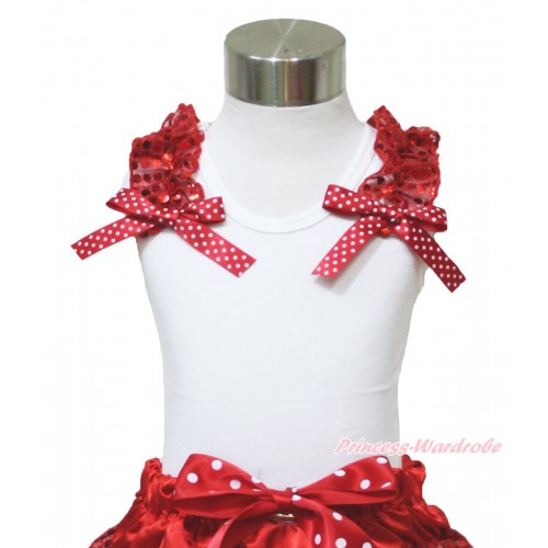 Xmas White Tank Top Red Sequins Ruffles Minnie Dots Bow TB975