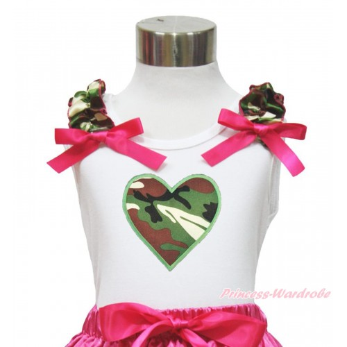 Valentine's Day White Tank Top Camouflage Ruffles Hot Pink Bow & Camouflage Heart Print TB976