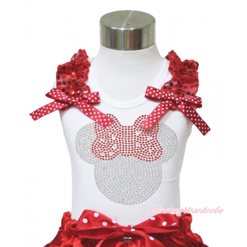 Xmas White Tank Top Red Sequins Ruffles Minnie Dots Bow & Sparkle Rhinestone Red Minnie Print TB977