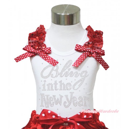 White Tank Top Red Sequins Ruffles Minnie Dots Bow & Sparkle Rhinestone Bling In The New Year Print TB978