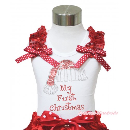 Xmas White Tank Top Red Sequins Ruffles Minnie Dots Bow & Sparkle Rhinestone Christmas Hat Print TB980