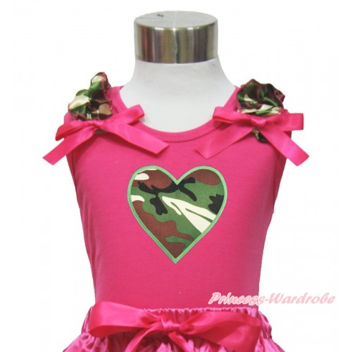 Valentine's Day Hot Pink Tank Top Camouflage Ruffles Hot Pink Bow & Camouflage Heart Print TM288