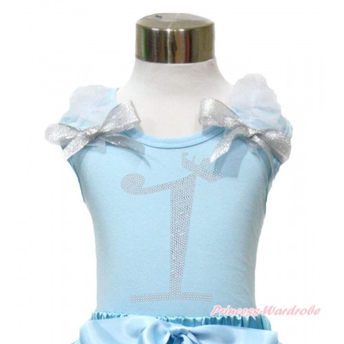 Light Blue Tank Top With White Ruffles & Sparkle Silver Grey Bow With 1st Sparkle Rhinestone Birthday Number Print TM289