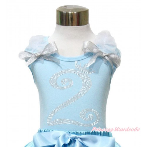 Light Blue Tank Top With White Ruffles & Sparkle Silver Grey Bow With 2nd Sparkle Rhinestone Birthday Number Print TM290