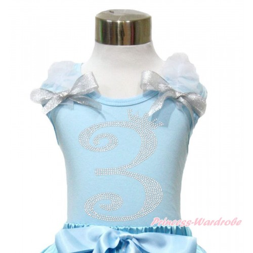 Light Blue Tank Top With White Ruffles & Sparkle Silver Grey Bow With 3rd Sparkle Rhinestone Birthday Number Print TM291
