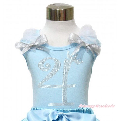 Light Blue Tank Top With White Ruffles & Sparkle Silver Grey Bow With 4th Sparkle Rhinestone Birthday Number Print TM292