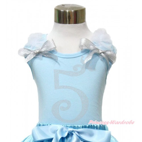 Light Blue Tank Top With White Ruffles & Sparkle Silver Grey Bow With 5th Sparkle Rhinestone Birthday Number Print TM293