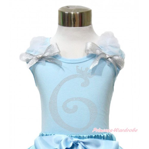 Light Blue Tank Top With White Ruffles & Sparkle Silver Grey Bow With 6th Sparkle Rhinestone Birthday Number Print TM294