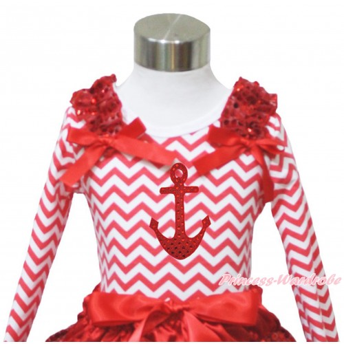 Red White Chevron Long Sleeves Top Red Sequins Ruffles Red Bow & Sparkle Red Anchor Print TO404